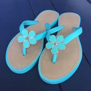 Teal Blue Flower Flip Flops Slippers Size 7